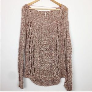 Free People | Mauve Pink Open Knit Sweater Small